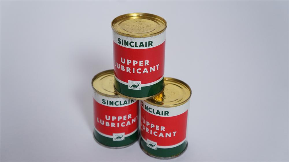 Lot of three N.O.S. 1950's Sinclair Upper Lubricant four ounce tins still full and unused! - Front 3/4 - 175021