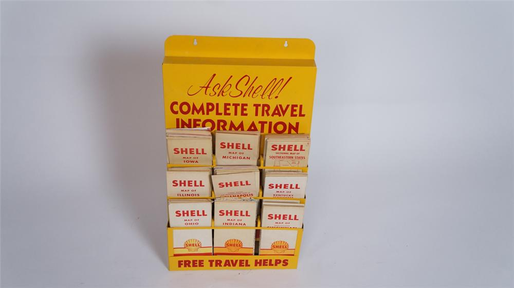 "Choice 1950's Shell Oil ""Complete Travel Information"" service station metal road map display filled with period Shell maps. - Front 3/4 - 175032"