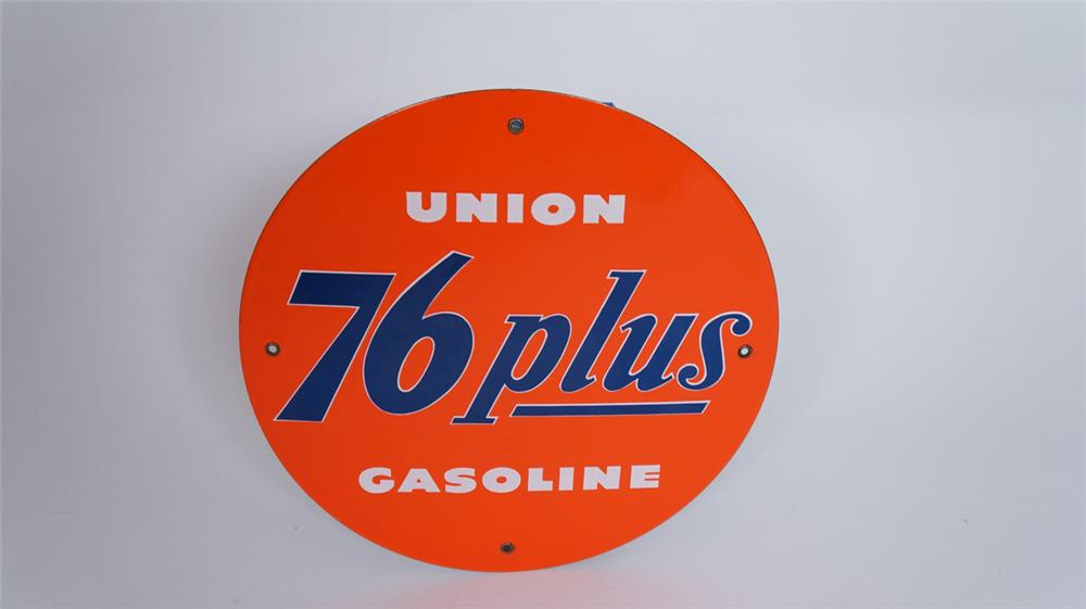 N.O.S. 1950's Union 76 Plus Gasoline single-sided porcelain pump plate sign. - Front 3/4 - 175034