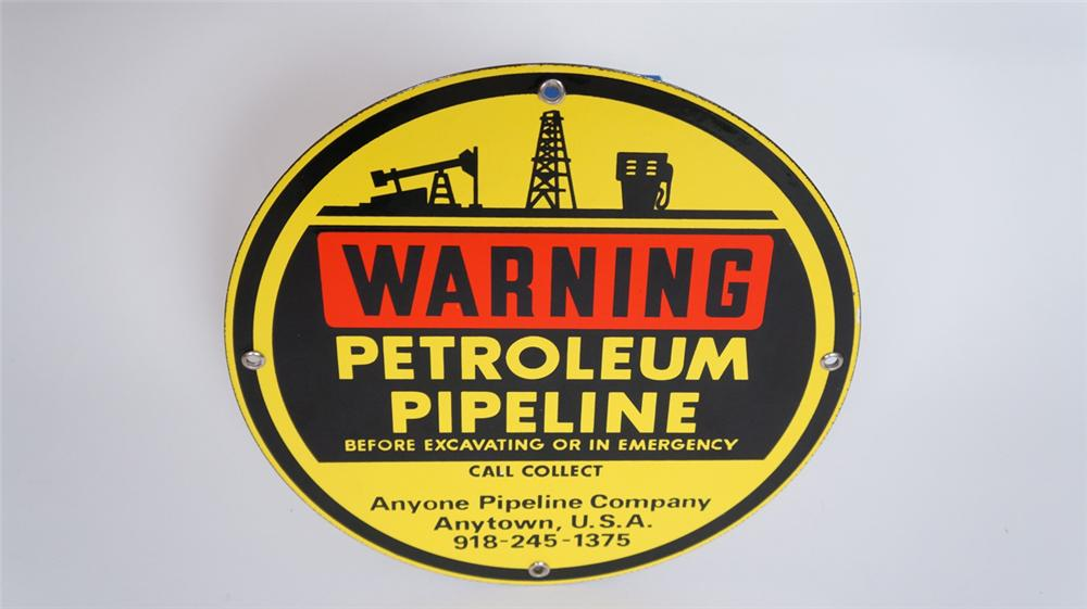 Warning Underground Petroleum Pipeline single-sided porcelain sign with graphics. - Front 3/4 - 175035