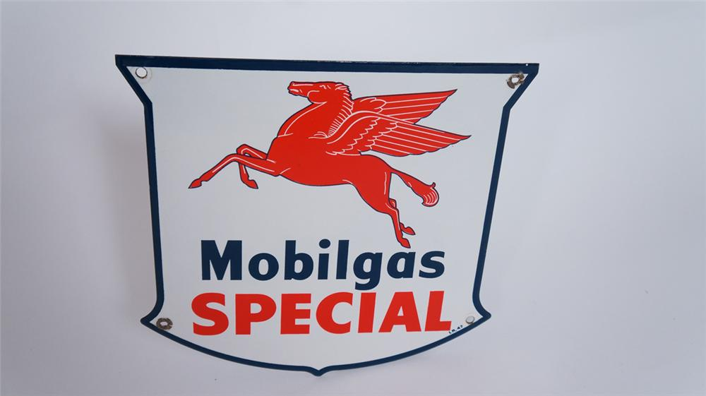 Wonderful 1947 Mobilgas Special porcelain pump plate sign with Pegasus logo. - Front 3/4 - 175037