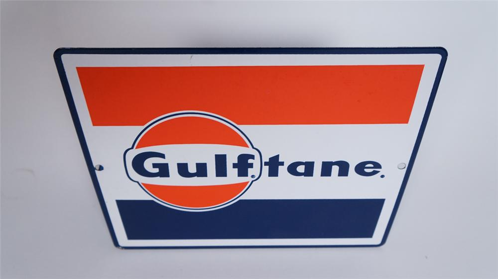 N.O.S. 1960's Gulf Oil Gulftane Gasoline single-sided porcelain pump plate sign. - Front 3/4 - 175042