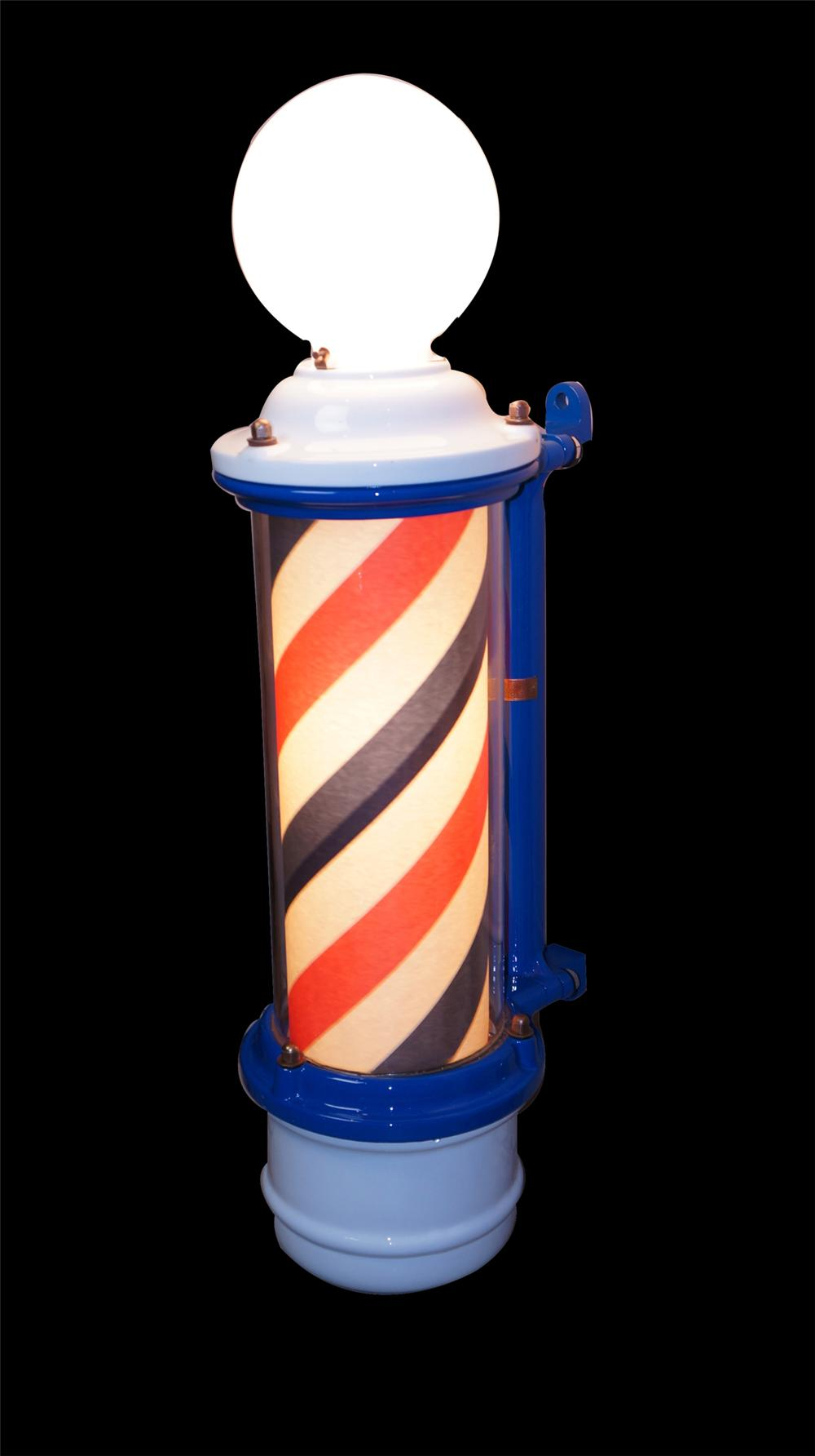 Very nice 1920's-30's porcelain Barber pole with lit spinning cylinder. - Front 3/4 - 175045