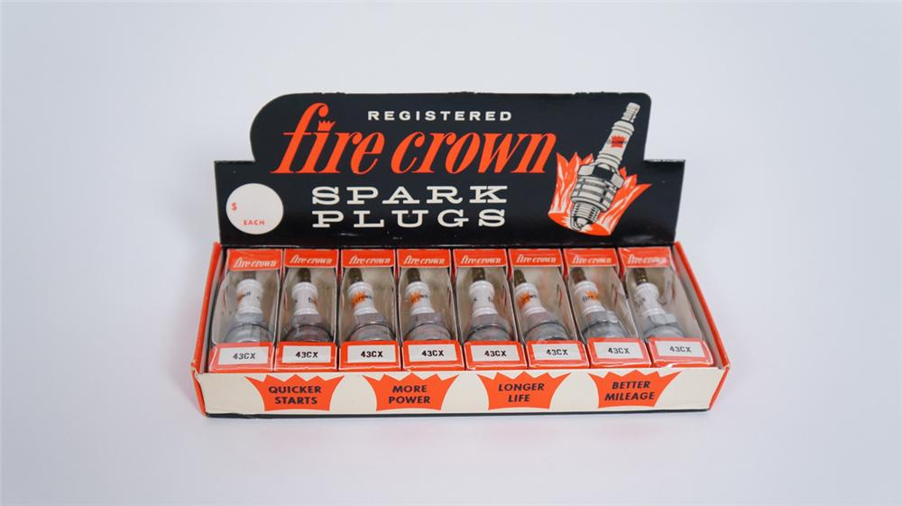 Sharp N.O.S early 1960's Fire Crown Spark Plugs automotive garage counter-top display box still full - Front 3/4 - 175049
