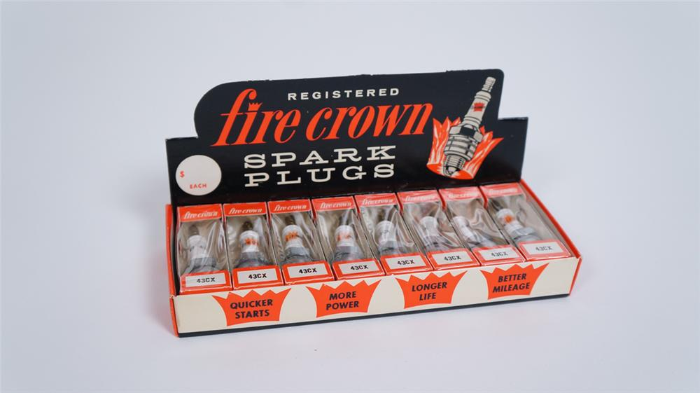 Good looking N.O.S early 1960's Fire Crown Spark Plugs automotive garage counter-top display box still full. - Front 3/4 - 175050