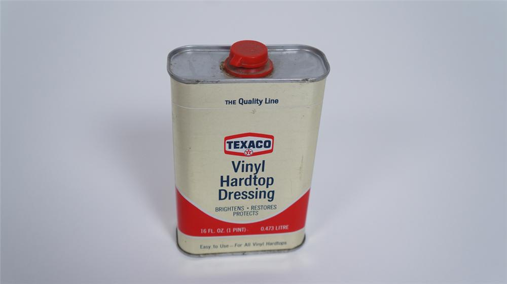 "Early 1960's N.O.S. Texaco Oil ""Vinyl Top Dressing"" tin still full and unused. - Front 3/4 - 175051"