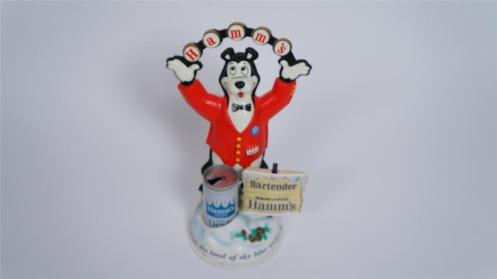 N.O.S. late 1950's-60's Hamm's Beer three dimensional juggling bear with can tavern bar back display piece. - Front 3/4 - 175053
