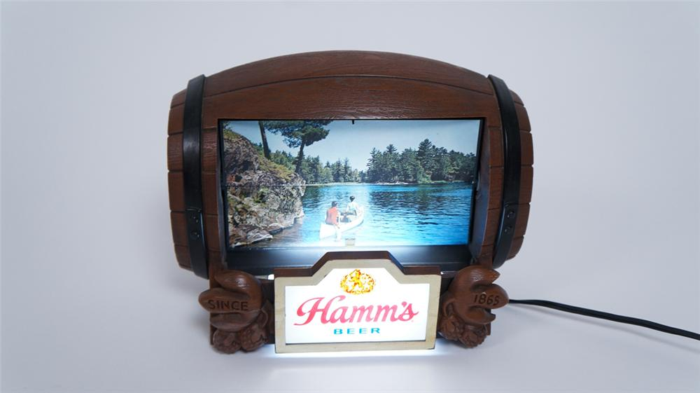 Highly collectible 1960's Hamm's Beer tavern light-up flip scene barrel sign. - Front 3/4 - 175054
