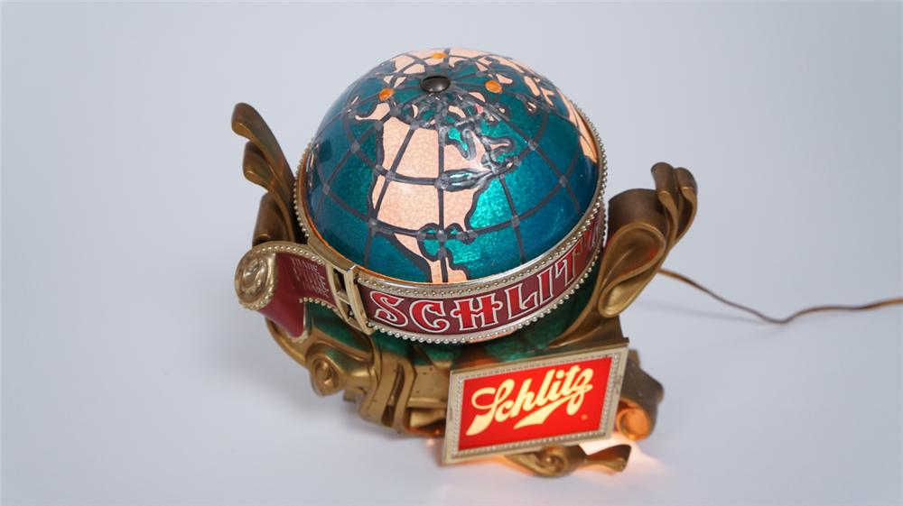 Impressive 1960's Schlitz Beer light-up rotating globe tavern sign. - Front 3/4 - 175055