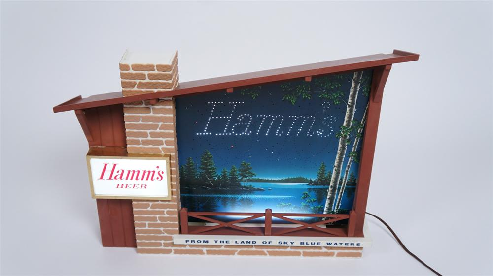 Choice Hamm's Beer Starry Skies chalet sign with twinkling stars and messaging.  A very clean survivor! - Front 3/4 - 175056