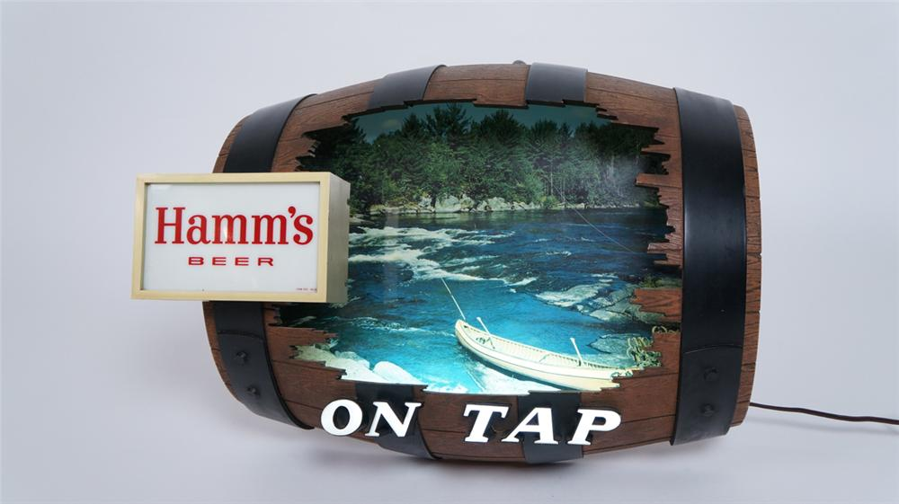 Neat Hamm's Beer On Tap keg shaped tavern sign with great outdoors graphics. - Front 3/4 - 175058