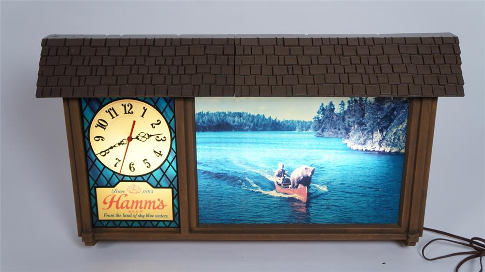 Large 1960's Hamm's Beer chalet style light-up tavern sign with working clock. - Front 3/4 - 175059