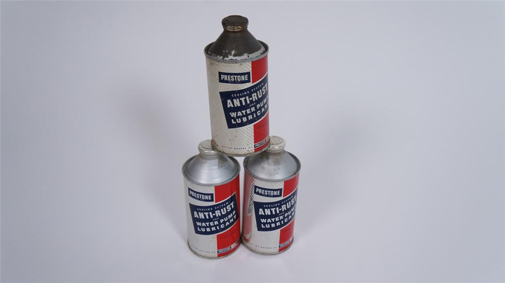 Lot of three 1950's Prestone Anti-Freeze cone topped cans still full! - Front 3/4 - 175061