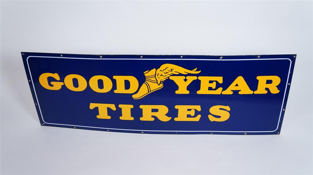Gorgeous large 1930's-40's Goodyear Tires horizontal porcelain automotive garage sign with winged foot logo. - Front 3/4 - 175067