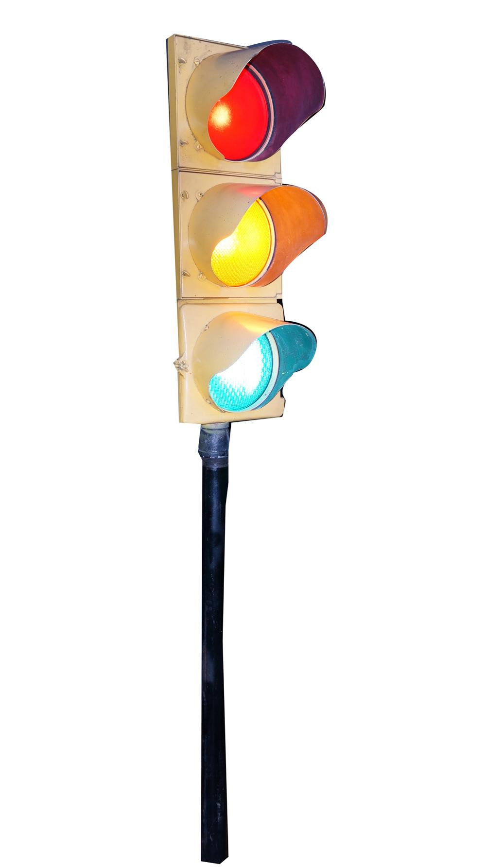 Vintage restored municipal traffic stop light.  A wonderful display piece. - Front 3/4 - 175068