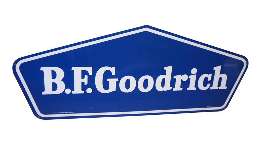 N.O.S. B.F. Goodrich Tires single-sided tin automotive garage sign found in the original shipping box. - Front 3/4 - 175069