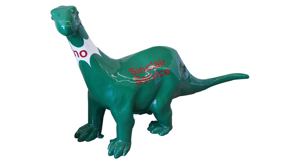 "Interesting large three dimensional cast metal Sinclair Service Station ""Dino"" the dinosaur statue. - Front 3/4 - 175072"