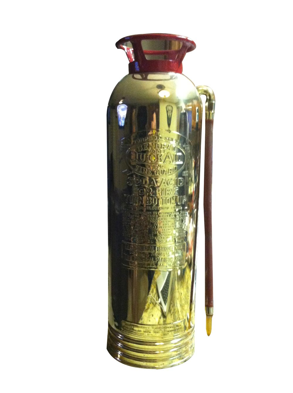 Vintage brass Torpedo Shell fire extinguisher, highly polished and ready to display. - Front 3/4 - 175085