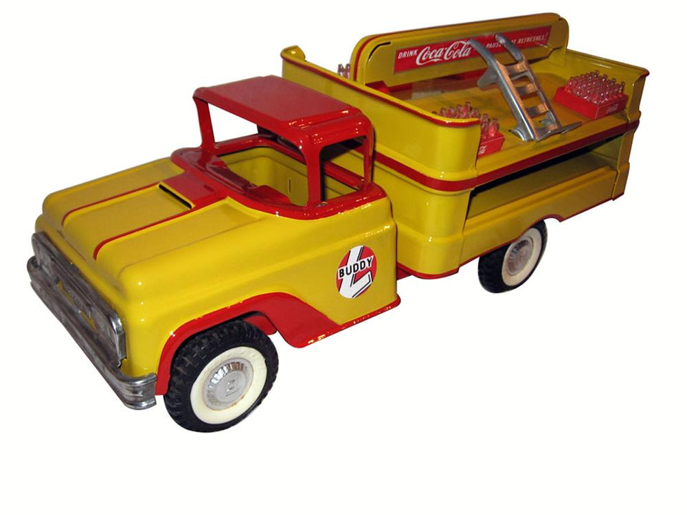 Nicely restored Buddy L coke delivery truck with dolly and cases. - Front 3/4 - 175094