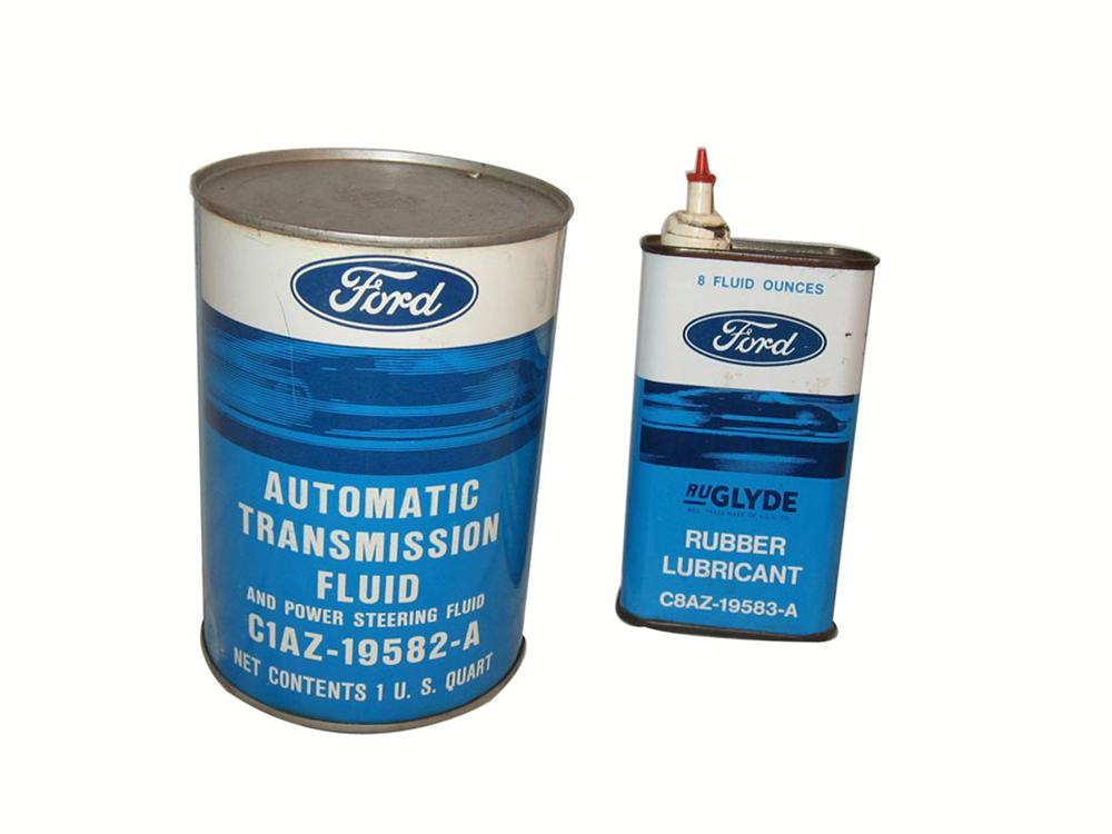 Lot of two 1960's Ford tins consisting of Automatic Transmission Fluid and Rubber Lubricant. - Front 3/4 - 175099