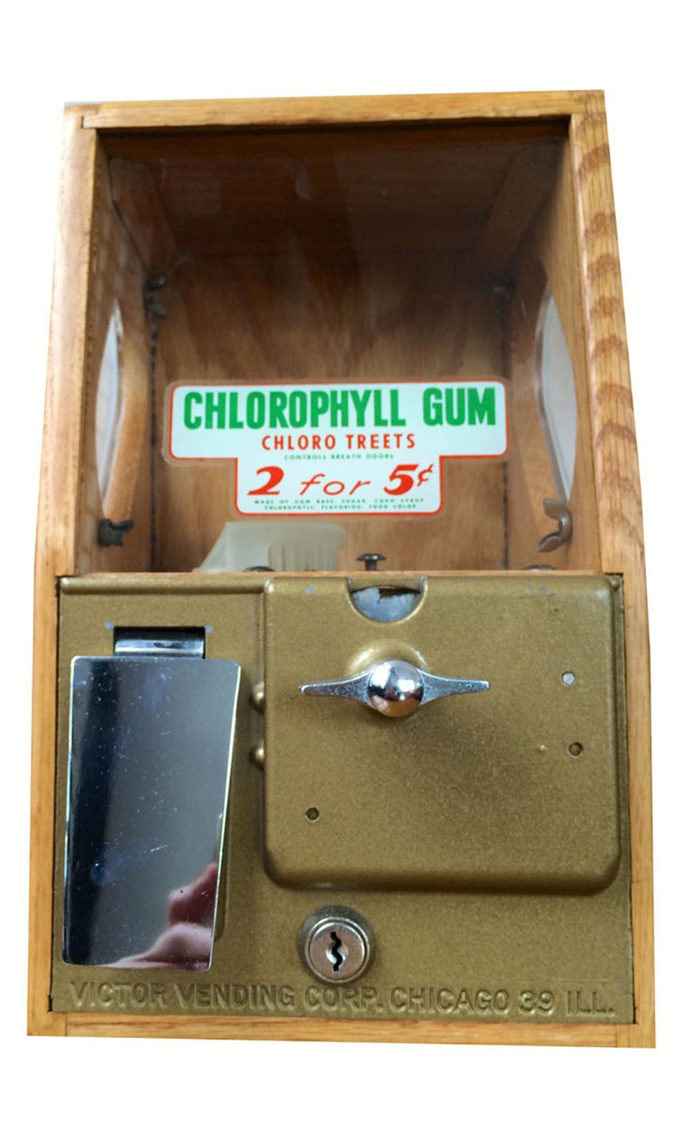 1950's Victor Vending wooden encased five cent coin-operated Chlorophyll gum dispenser. - Front 3/4 - 175109