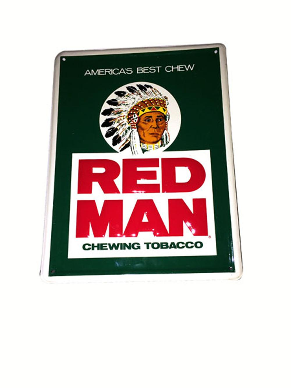 Red Man Chewing Tobacco single-sided embossed tin sign with nice graphics. - Front 3/4 - 175115