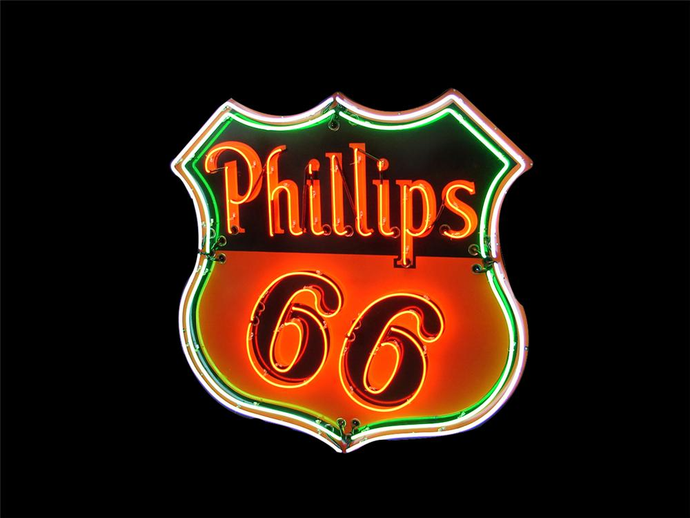 Fantastic large 1950's Philips 66 single-sided neon porcelain service station sign. - Front 3/4 - 175120
