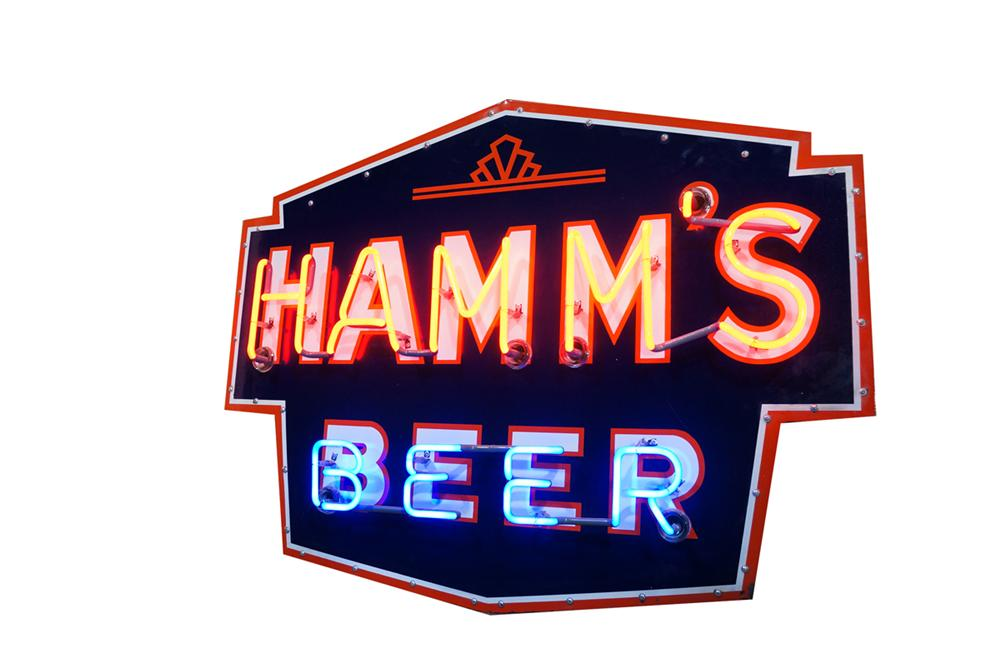 Rare 1930's-40's Hamm's Beer single-sided porcelain neon tavern sign. - Front 3/4 - 175122