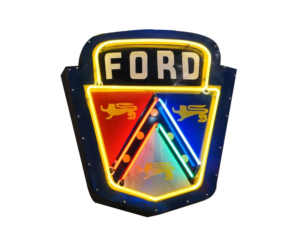 Extremely rare 1953 Ford Golden Jubilee single-sided neon porcelain dealership crest sign. - Front 3/4 - 175123