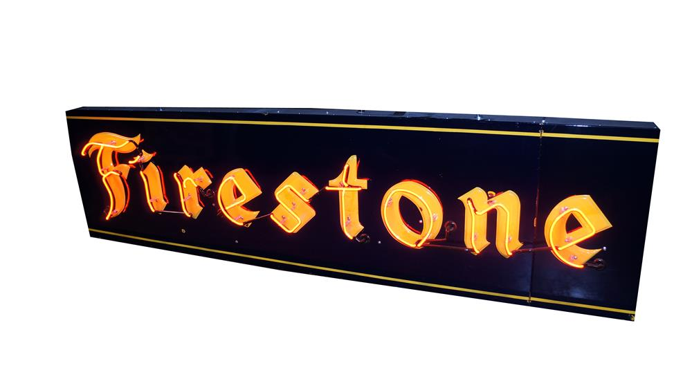 Never before seen large 1930's Firestone Tires single-sided neon with embossed porcelain automotive garage sign. - Front 3/4 - 175125