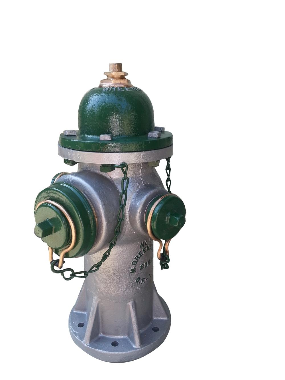 Beautifully restored circa 1930's-40s Greenberg heavy cast iron fire hydrant used in the cities of San Francisco and Los Angeles. - Front 3/4 - 175127