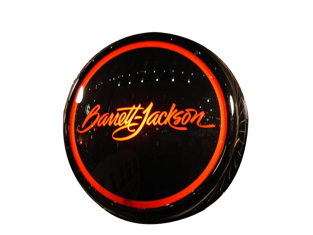 Addendum Item - Stylish Barrett-Jackson glass faced light-up sign presented in a hand crafted powder-coated aluminum body. - Front 3/4 - 176128