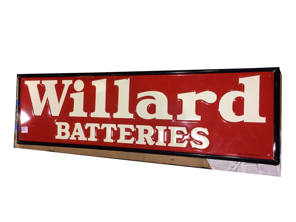 Addendum Item - Choice N.O.S. 1947 Willard Batteries self-framed embossed tin service station sign still in the original shipping box!! - Front 3/4 - 176530