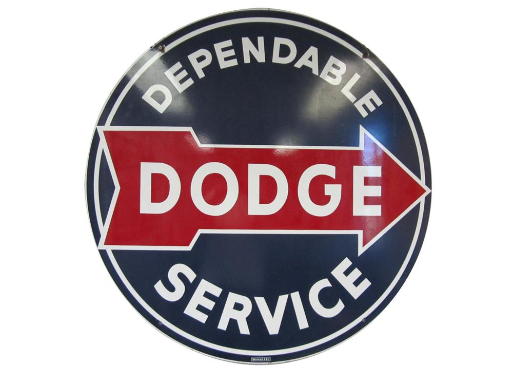 """Sharp late 1940's-50's Dodge """"Dependable Service"""" double-sided porcelain dealership sign with arrow graphic. - Front 3/4 - 177492"""