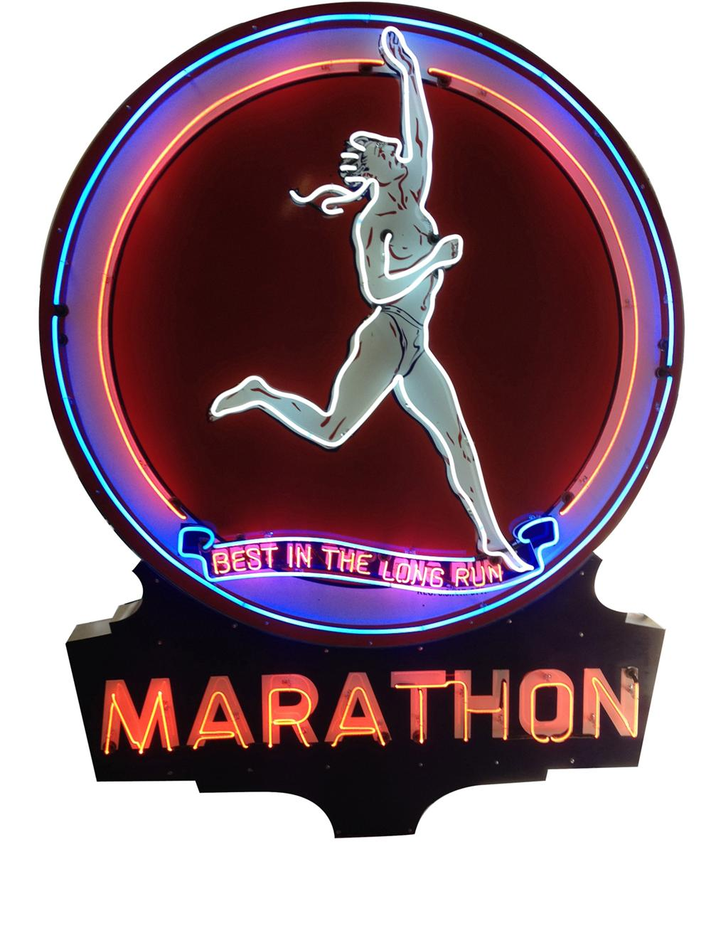 Phenomenal 1940's Marathon Gasoline single-sided porcelain with neon service station sign. - Front 3/4 - 177497
