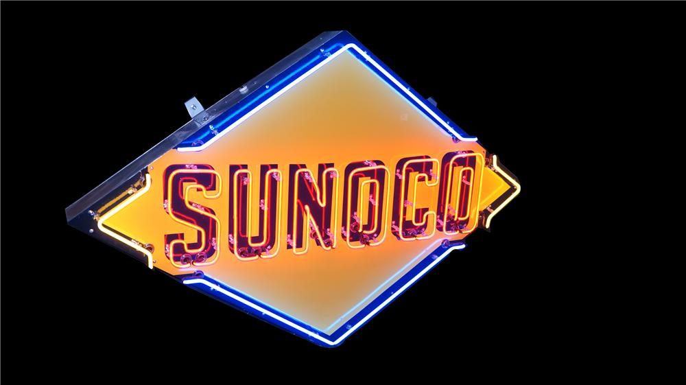 Fantastic large restored 1950's Sunoco Oil single-sided porcelain service station sign with neon. - Front 3/4 - 177499