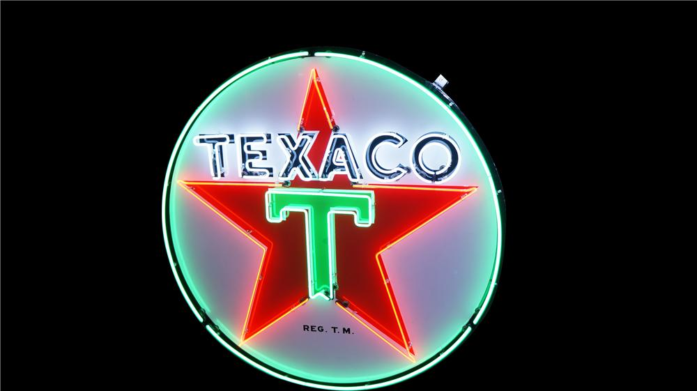 Awesome 1940's-50's Texaco Oil single-sided porcelain service station sign with animated neon. - Front 3/4 - 177500