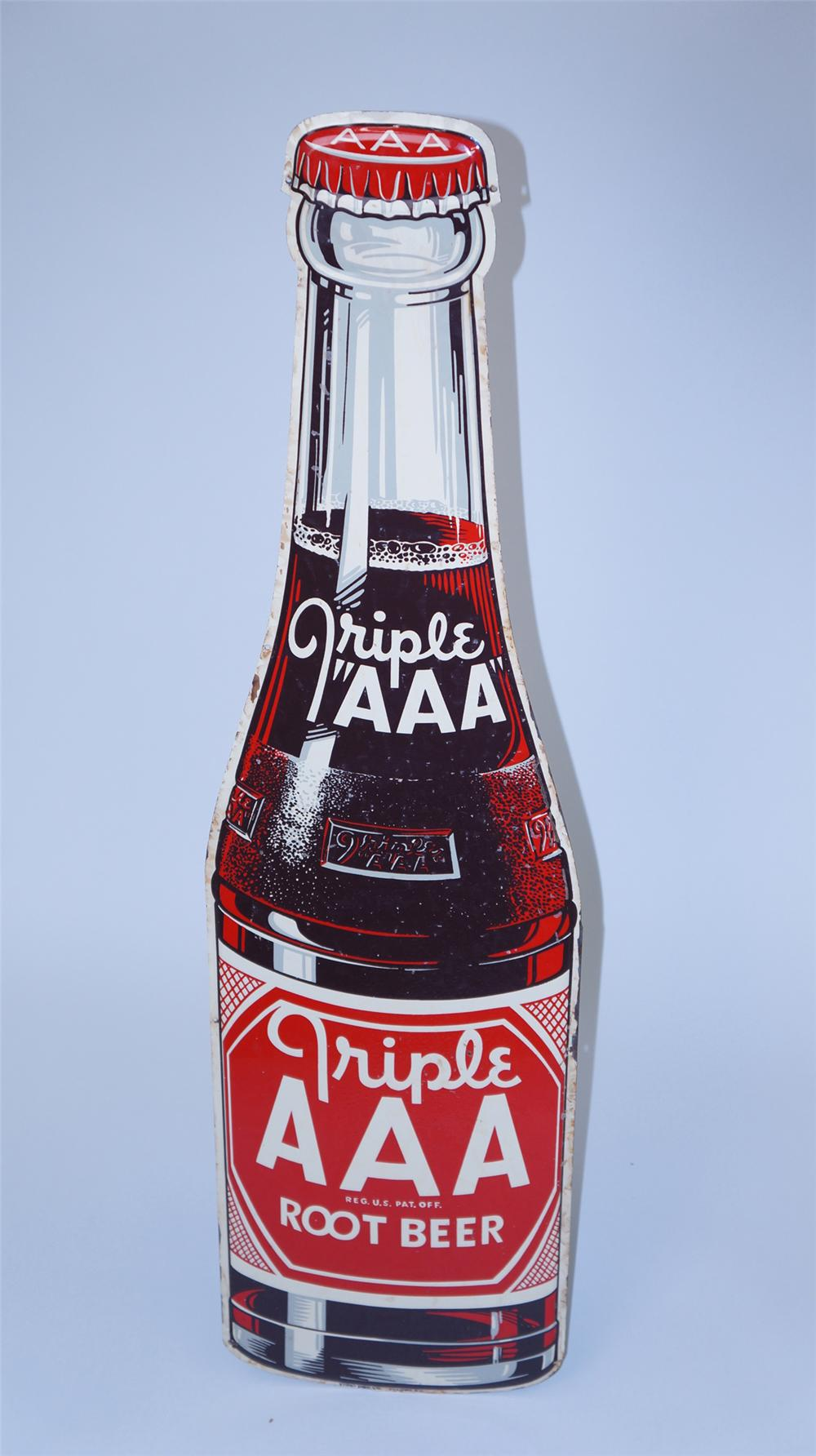 N.O.S. 1948 Triple A Root Beer die-cut bottle shaped tin sign. - Front 3/4 - 177572