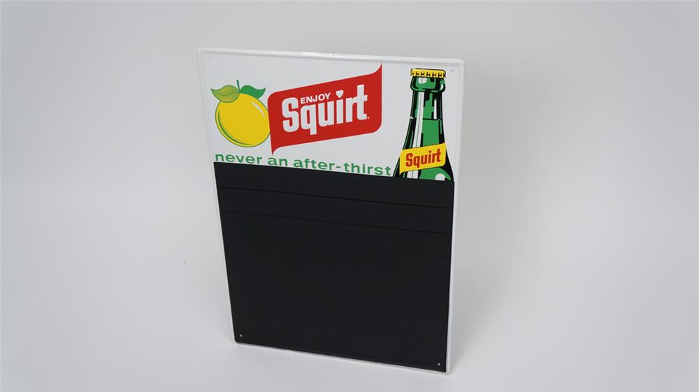 N.O.S. 1973 Enjoy Squirt Soda single-sided embossed tin diner menu board with bottle graphic. - Front 3/4 - 177581