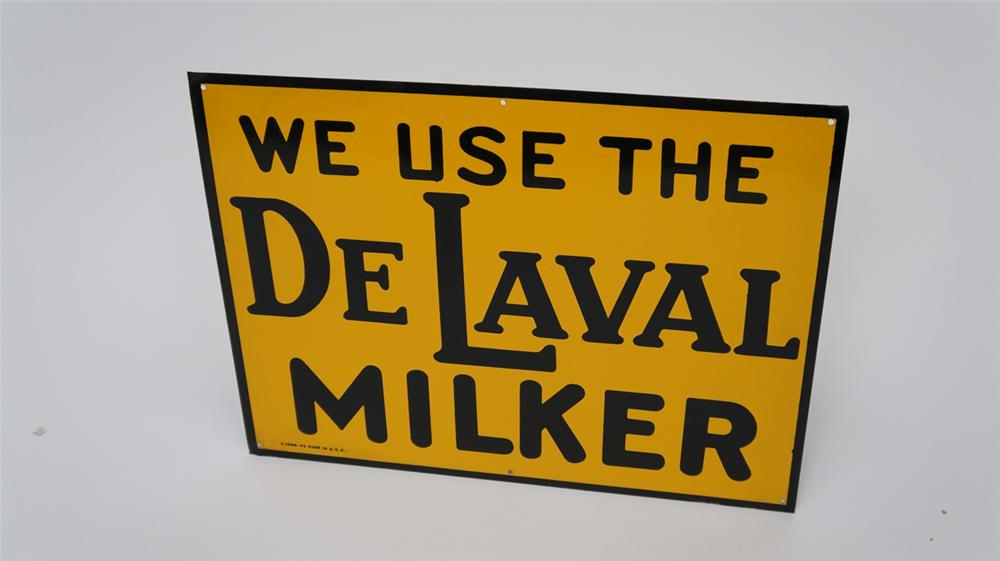 N.O.S. 1945 De Laval Milker single-sided tin general store sign.  Never used! - Front 3/4 - 177583