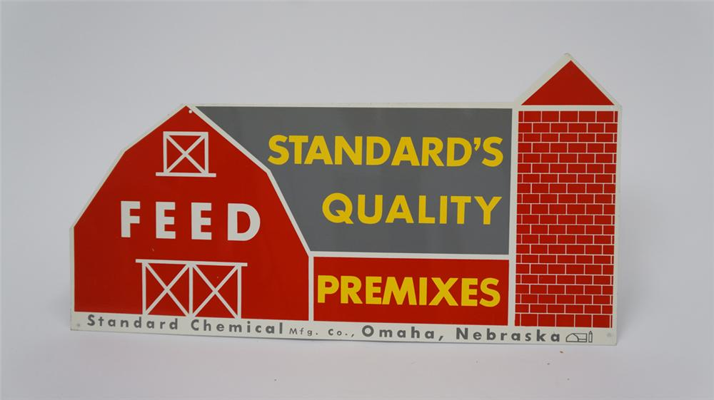 N.O.S. 1950's Standard Feeds Quality Pre-Mixes die-cut tin barn shaped sign. - Front 3/4 - 177584
