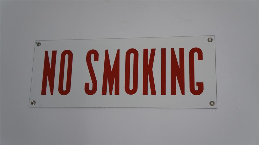 N.O.S. 1940's-50's No Smoking single-sided porcelain automotive garage sign. - Front 3/4 - 177585