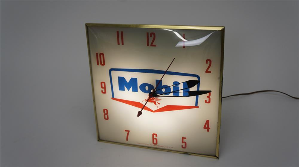 Beautiful 1959 Mobil Oil Pam glass faced light-up service station clock. - Front 3/4 - 177703