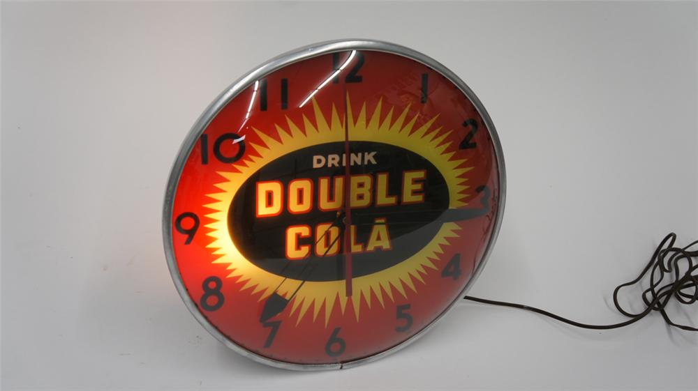 Seldom seen 1950's Drink Double-Cola Pam glass faced light-up diner clock. - Front 3/4 - 177705