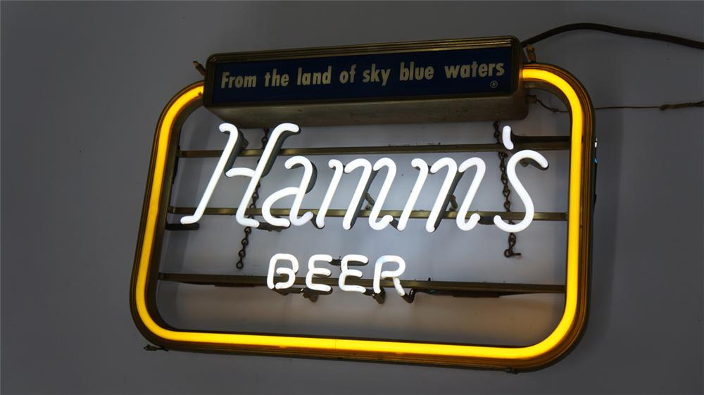 """Unusual version 1950's Hamm's Beer """"From the Land of Sky Blue Waters"""" neon tavern sign. - Front 3/4 - 177707"""