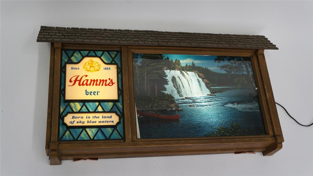Hamm's Beer Scene-o-rama sign with light-up rotating wilderness scenes - Front 3/4 - 177713