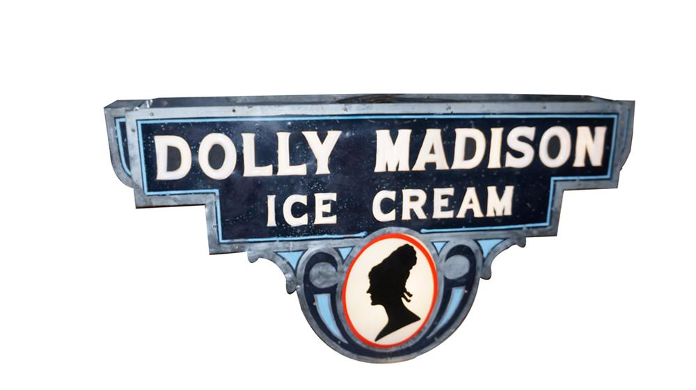 Rare 1930's Dolly Madison Ice Cream double-sided light-up soda fountain sign with milk glass lettering. - Front 3/4 - 177716