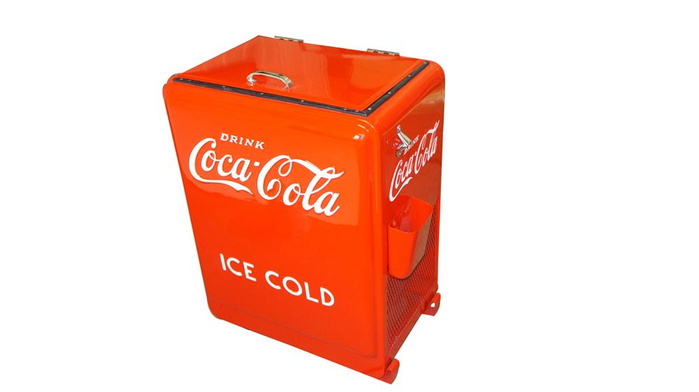 Professionally restored 1930's service station Coca-Cola Westinghouse refrigerated water bottle cooler. - Front 3/4 - 177717