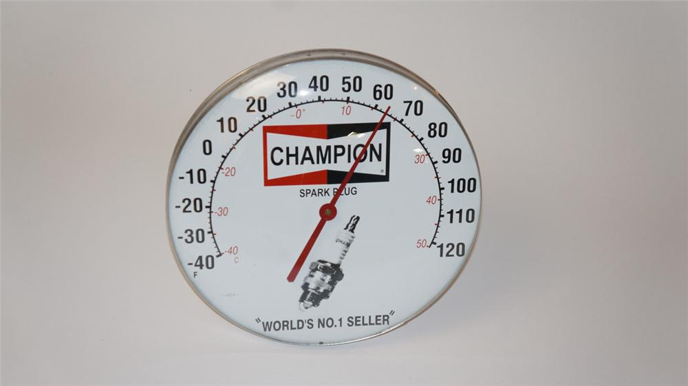 Sharp Champion Spark Plugs glass faced automotive garage dial thermometer with spark plug graphic. - Front 3/4 - 177721