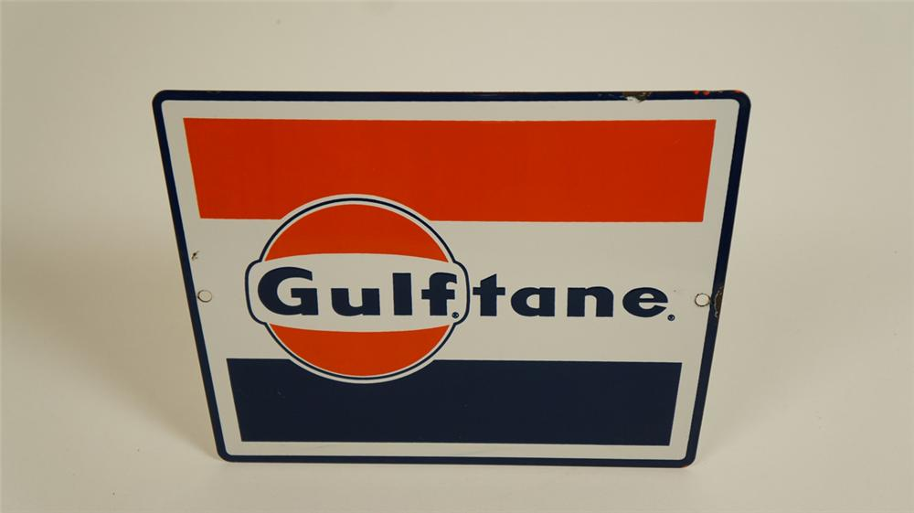 "Choice late 1950's-early 60's Gulf Oil ""Gulftane"" Gasoline single-sided porcelain pump plate sign. - Front 3/4 - 177725"